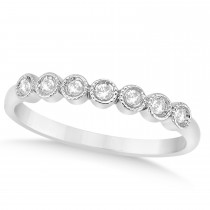 Diamond Bezel Accented Wedding Band Setting 14k White Gold 0.10ct