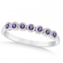 Amethyst Bezel Accented Wedding Band 14k White Gold 0.10ct