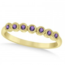 Amethyst Bezel Accented Wedding Band 14k Yellow Gold 0.10ct