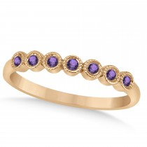 Amethyst Bezel Set Wedding Band 18k Rose Gold 0.10ct
