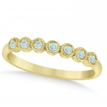 Aquamarine Bezel Set Wedding Band 14k Yellow Gold 0.10ct