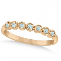 Aquamarine Bezel Set Wedding Band 18k Rose Gold 0.10ct