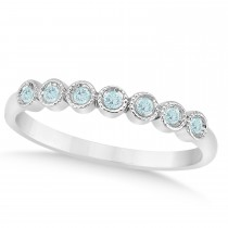 Aquamarine Bezel Accented Wedding Band 18k White Gold 0.10ct