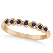 Blue Sapphire Bezel Set Wedding Band 14k Rose Gold 0.10ct