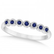 Blue Sapphire Bezel Set Wedding Band 14k White Gold 0.10ct