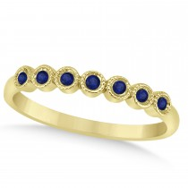 Blue Sapphire Bezel Accented Wedding Band 14k Yellow Gold 0.10ct