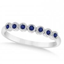 Blue Sapphire Bezel Accented Wedding Band Palladium 0.10ct