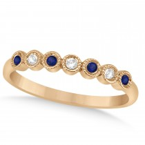 Blue Sapphire & Diamond Bezel Wedding Band 14k Rose Gold 0.10ct