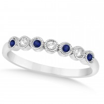 Blue Sapphire & Diamond Bezel Wedding Band 14k White Gold (0.10ct)