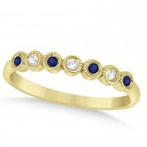 Blue Sapphire & Diamond Bezel Accented Wedding Band 18k Yellow Gold 0.10ct