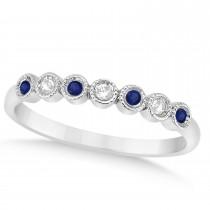 Blue Sapphire & Diamond Bezel Wedding Band Platinum 0.10ct