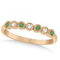 Emerald & Diamond Bezel Accented Wedding Band 18k Rose Gold 0.10ct