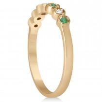 Emerald & Diamond Bezel Wedding Band 18k Rose Gold 0.10ct