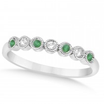 Emerald & Diamond Bezel Accented Wedding Band 18k White Gold 0.10ct