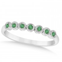 Emerald Bezel Set Wedding Band 14k White Gold 0.10ct