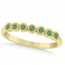 Emerald Bezel Set Wedding Band 14k Yellow Gold 0.10ct