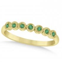 Emerald Bezel Accented Wedding Band 14k Yellow Gold 0.10ct
