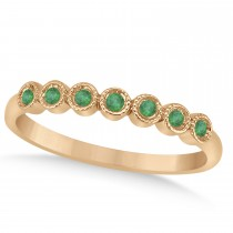 Emerald Bezel Accented Wedding Band 18k Rose Gold 0.10ct