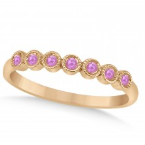 Pink Sapphire Bezel Set Wedding Band 14k Rose Gold 0.10ct
