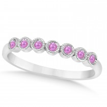 Pink Sapphire Bezel Set Wedding Band 14k White Gold 0.10ct