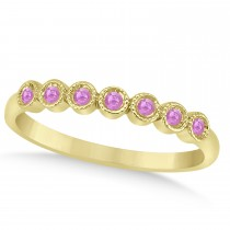 Pink Sapphire Bezel Accented Wedding Band 18k Yellow Gold 0.10ct