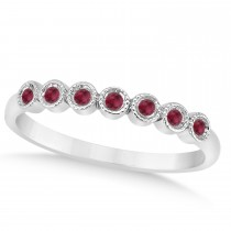 Ruby Bezel Accented Wedding Band 14k White Gold 0.10ct