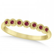 Ruby Bezel Set Wedding Band 14k Yellow Gold 0.10ct