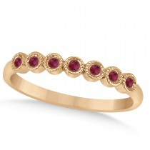 Ruby Bezel Accented Wedding Band 18k Rose Gold 0.10ct