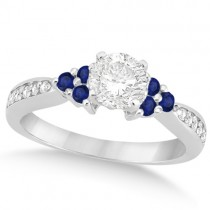 Floral Diamond & Blue Sapphire Engagement Ring 18k White Gold (0.80ct)