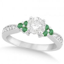 Floral Diamond and Emerald Engagement Ring Palladium (0.78ct)