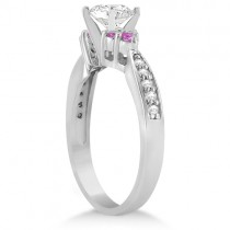 Floral Diamond & Pink Sapphire Engagement Ring Platinum (0.80ct)