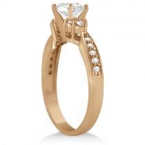 Diamond Floral Engagement Ring Setting 14k Rose Gold (0.28ct)