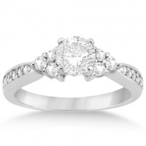 Diamond Floral Engagement Ring Setting 18k White Gold (0.28ct)