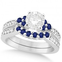 Floral Diamond & Blue Sapphire Bridal Set in 18k White Gold (1.00ct)