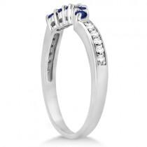 Floral Diamond & Blue Sapphire Bridal Set in Palladium (1.00ct)