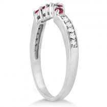 Floral Diamond & Ruby Engagement Ring & Band 18k White Gold (1.00ct)