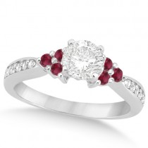Floral Diamond & Ruby Engagement Ring & Band Palladium (1.00ct)