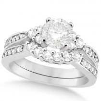Floral Diamond Engagement Ring & Wedding Band Palladium (1.06ct)