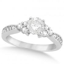 Floral Diamond Engagement Ring & Wedding Band Platinum (1.06ct)
