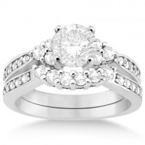 Floral Diamond Engagement Ring & Wedding Band 14k White Gold (0.56ct)