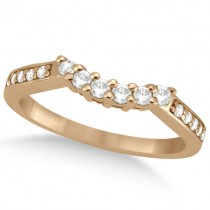 Floral Contour Band Diamond Wedding Ring 18k Rose Gold (0.28ct)
