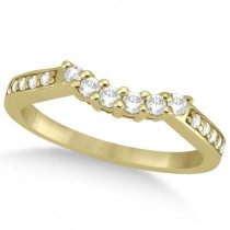 Floral Contour Band Diamond Wedding Ring 18k Yellow Gold (0.28ct)