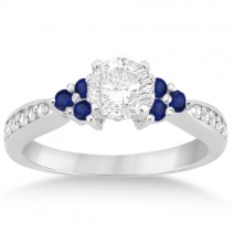 Floral Diamond and Sapphire Engagement Ring 14k White Gold (0.30ct)