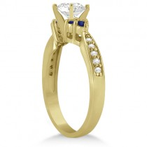Floral Diamond and Sapphire Engagement Ring 18k Yellow Gold (0.30ct)