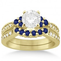 Floral Diamond and Sapphire Engagement Set 14k Yellow Gold (0.60ct)