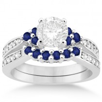 Floral Diamond and Sapphire Engagement Set Palladium (0.60ct)
