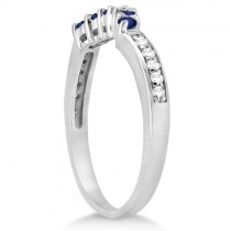 Floral Diamond and Sapphire Wedding Ring Palladium (0.30ct)
