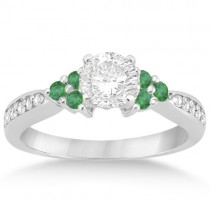 Floral Diamond & Emerald Engagement Ring & Band 14k W. Gold (0.56ct)