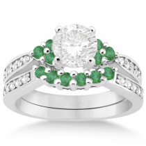 Floral Diamond and Emerald Engagement Ring & Band 18k W. Gold (0.56ct)
