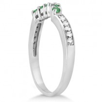 Floral Diamond and Emerald Wedding Ring 14k White Gold (0.28ct)